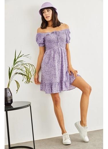 Sortee Kadın Gipeli Ip Askılı Çiçek Desenli Elbise Lila